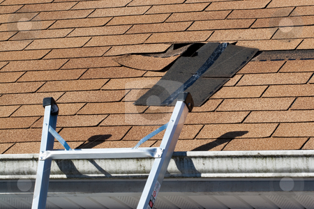 Damaged Roof Shingles Repair stock photo, Fixing damaged roof shingles.  A section was blown off after a storm with high winds causing a potential leak. by Todd Arena