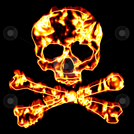 Fiery Skull and Crossbones stock photo, A flaming skull and crossbones illustration isolated over black. by Todd Arena