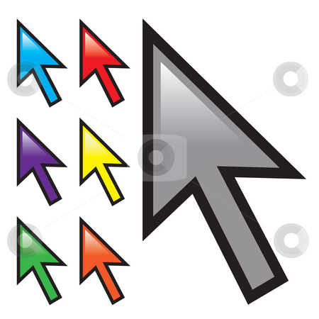 Mouse Arrow Cursors stock photo, A collection of mouse arrow cursors isolated over white with multiple color options. by Todd Arena