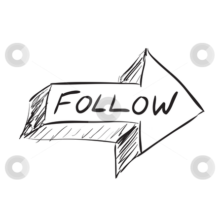 Follow Arrow stock photo, Follow arrow icon sketched in black isolated over white. by Todd Arena