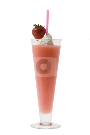 Strawberry Daquiri Cocktail stock photo, Strawberry Daquiri with garnish on white backgroud by Gabe Palmer