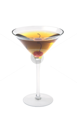Rob Roy or Manahattan cocktailon a white background stock photo, Rob Roy or Manahattan mixed drink with marachino cherry on white background by Gabe Palmer