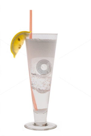 Vodka Seven Cocktail stock photo, Vodka Seven mixed drink with lemon slice garnish on white background by Gabe Palmer