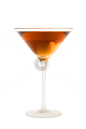 Rob Roy cocktail or Manhatten cocktail on a white background stock photo, Rob Roy or Manahattan mixed drink with marachino cherry on white background by Gabe Palmer