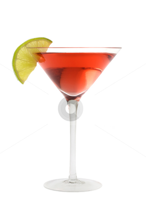 Cosmopolitan cocktail with lime garnish stock photo, Cosmopolitan mixed drink with lime wedge on a white background by Gabe Palmer