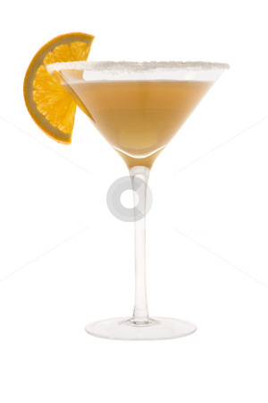 Sidecar Cocktail stock photo, Sidecar mixed drink with orange slice garnish on white background by Gabe Palmer
