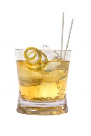 Scotch and Water stock photo, Scotch and water on the rocks with lemon peel garnish on white background by Gabe Palmer