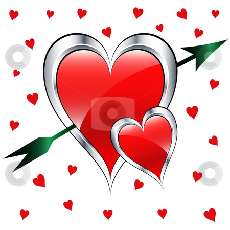Valentine day love hearts with arrow stock vector clipart, Valentine day love hearts in silver and red with a green arrow set on a white background with small red hearts. by toots77