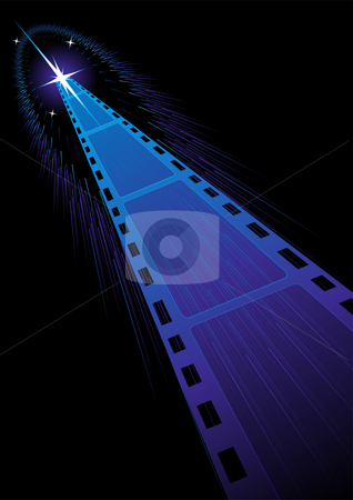 Film strips background stock vector clipart, Background with film strips cooming from stars by Oxygen64