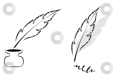 Design with feather stock vector clipart, Set of symbols with feather isolated on white by Oxygen64