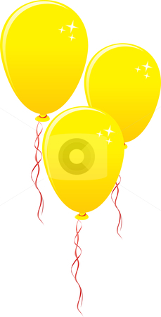 Three gold balloons stock vector clipart, Three gold party balloons isolated on white background by Oxygen64