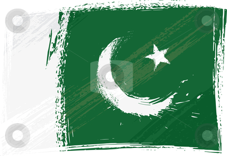 Grunge Pakistan flag stock vector clipart, Pakistan national flag created in grunge style by oxygen64