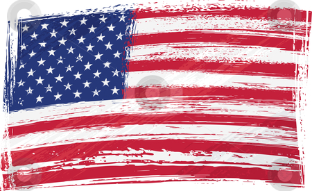 Grunge USA flag stock vector clipart, USA national flag created in grunge style by oxygen64