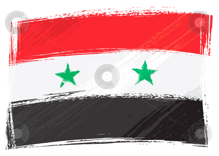 Grunge Syria flag stock vector clipart, Syria national flag created in grunge style by Oxygen64