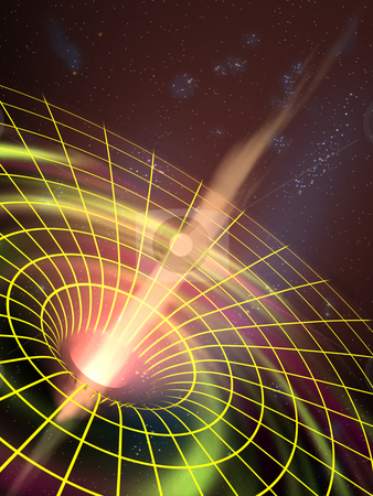 Black hole stock photo, A black hole attracting space matter. Digital illustration by Andrea Danti