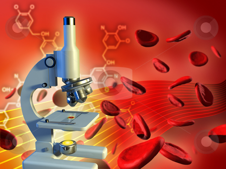 Blood analysis stock photo, Dna strand in a laboratory flask. Digital illustration. by Andrea Danti