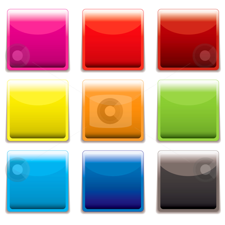 Square plastic web icon stock vector clipart, Nine square plastic web icons with light reflection and room to add text by Michael Travers