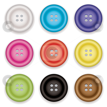 Clothes buttons icons stock vector clipart, Collection of clothes buttons with a selection of colors with shadow by Michael Travers