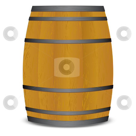 Beer keg barrel stock vector clipart, Wooden beer keg barrel with metal straps and shadow by Michael Travers
