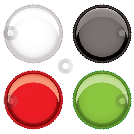 Beer bottle top stock vector clipart, Collection of four metal plain bottle tops with room for text by Michael Travers
