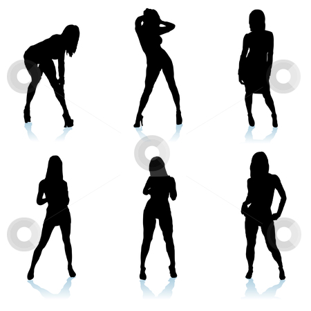 Sexy woman silhouette stock vector clipart, Six sexy women posing in different positions with shadows by Michael Travers