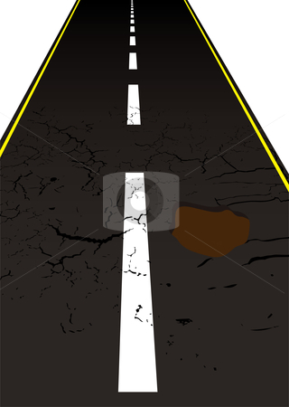 Road pot hole stock vector clipart, Main road with cracked mettled surface with pot holes by Michael Travers