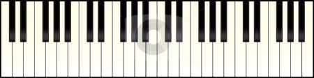 Piano keyboard long stock vector clipart, Full size piano keyboard with black and white keys by Michael Travers