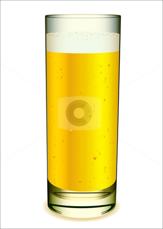 Glass of beer stock vector clipart, Glass of beer with white head and gas bubbles by Michael Travers