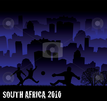 Football south africa 2010 stock vector clipart, South africa 2010 football tournament  inspired illustration with city scape by Michael Travers
