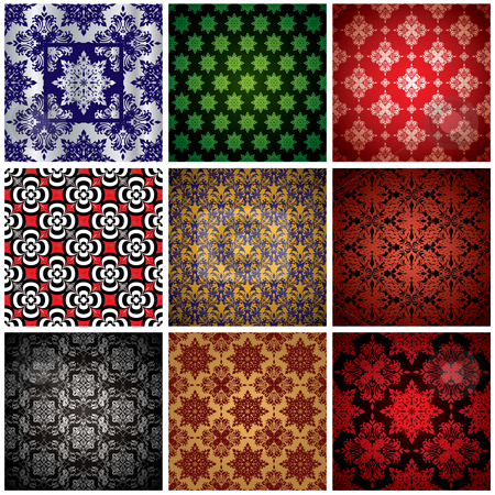 Wallpaper collection stock vector clipart, Abstract collection of nine seamless wallpaper background patterns by Michael Travers