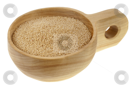 Scoop of amaranth grain stock photo, Amaranth grain on a rustic, wooden scoop or bowl, isolated on white by Marek Uliasz