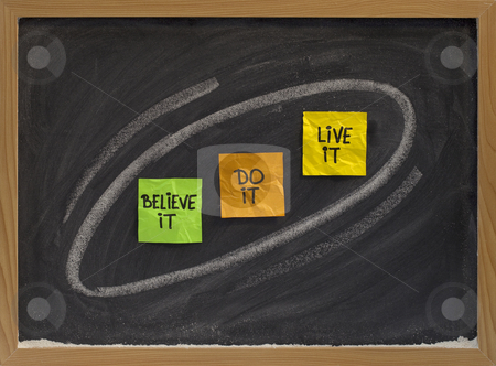Believe, do, live it - motivational concept stock photo, Believe it, do it, live it - motivational concept on blackboard, colorsticky notes and white chalk drawing by Marek Uliasz