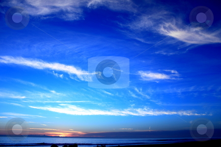 Sunset Ocean Blue stock photo, Beautiful sunset over the ocen at Ventura beach with channel islands in background by Henrik Lehnerer