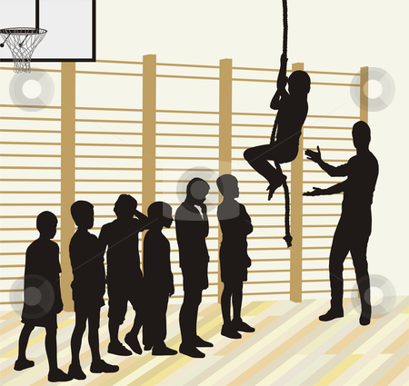 Physical Education stock vector clipart, Vector silhouettes of boys, learners climb by Vladim?