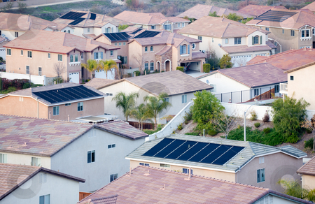 Contemporary Neighborhood Roof Tops with Solar Panels stock photo, Contemporary Neighborhood Roof Tops View with Solar Panels. by Andy Dean