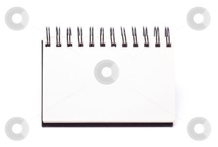 Blank Spiral Note Pad Standing on White stock photo, Blank Spiral Note Pad Standing Isolated on a White Background. by Andy Dean