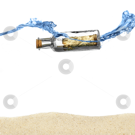 Message in a Bottle stock photo, Message in a bottle floating in an ocean above sand. by Christopher Nuzzaco