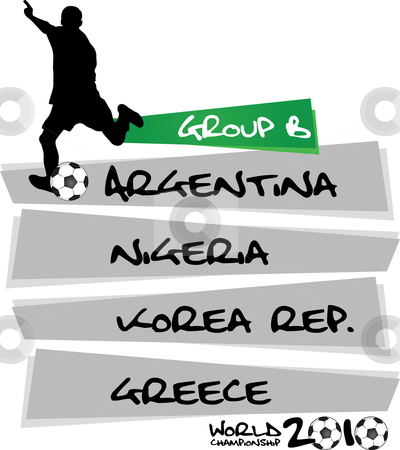 Group B - soccer world championship stock vector clipart,  by Tomas Marek