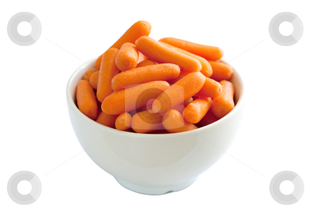Bowl of Baby Carrots stock photo, Bowl of baby carrots isolated over a white background. by Brigida Soriano