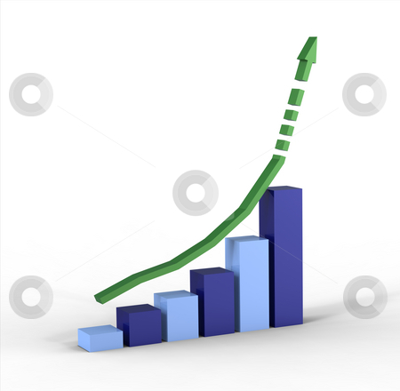 Business graph showing growth stock photo, 3d graph with positive growth pointing upwards by Borislav Marinic
