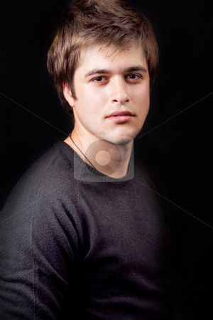 Young handsome masculine guy stock photo, Portrait of young handsome masculine fine guy by Dunca Daniel