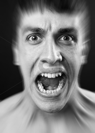 Loud scream of scared frighten man stock photo, Loud scream of scared frighten young man by Dunca Daniel