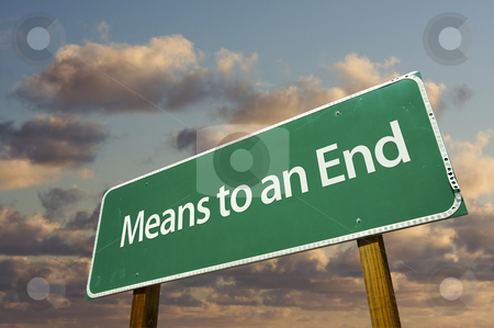 Means to an End Green Road Sign stock photo, Means to an End Green Road Sign with Dramatic Clouds and Sky. by Andy Dean