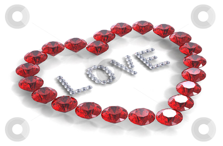 Heart of diamonds with word love stock photo, Heart of diamonds with word love, 3D render by Borislav Marinic