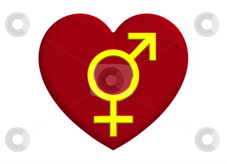 Male and female sex symbols with heart stock photo, Male and female sex ...
