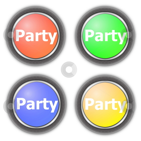 Party button collection stock photo, Party fun button collection isolated on white background by Gunnar Pippel