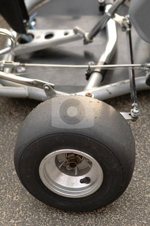 Slick tire stock photo, Close-up of go-kart slick tire by Steve Mann