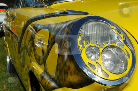 Custom car stock photo, Custom headlight on a colorful streetrod automobile by Steve Mann
