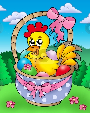 Easter basket with happy chicken stock photo, Easter basket with happy chicken - color illustration. by Klara Viskova