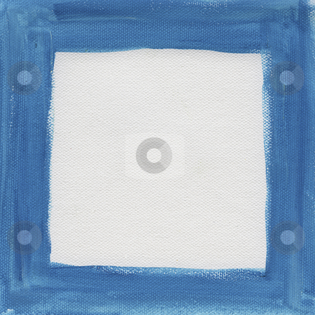 Blue frame on white canvas stock photo, Hand painted  blue watercolor frame (border) surrounding white blank square on artist canvas by Marek Uliasz